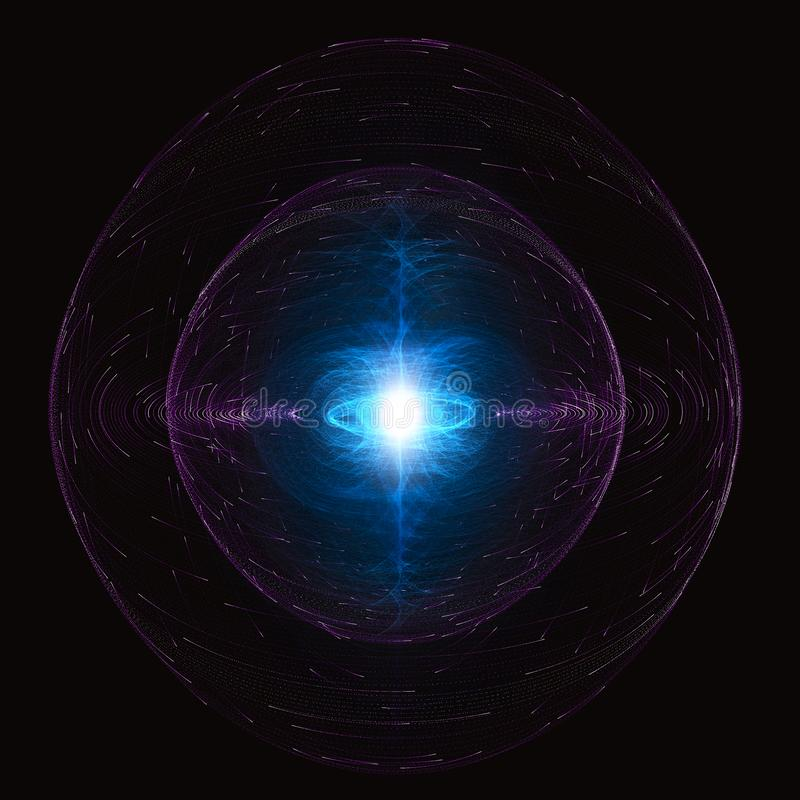 High Energy Particles Flow Inside A Sphere, Antigravity, Magnetic Field royalty free illustration