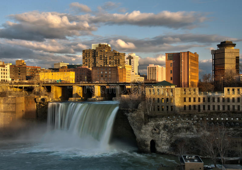 High Falls of Downtown Rochester New York at Sunset royalty free stock photos