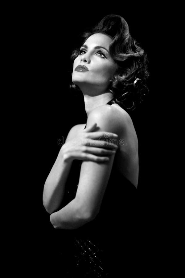High Fashion Editorial Concept Vintage. Woman in High Fashion Editorial Concept stock photo