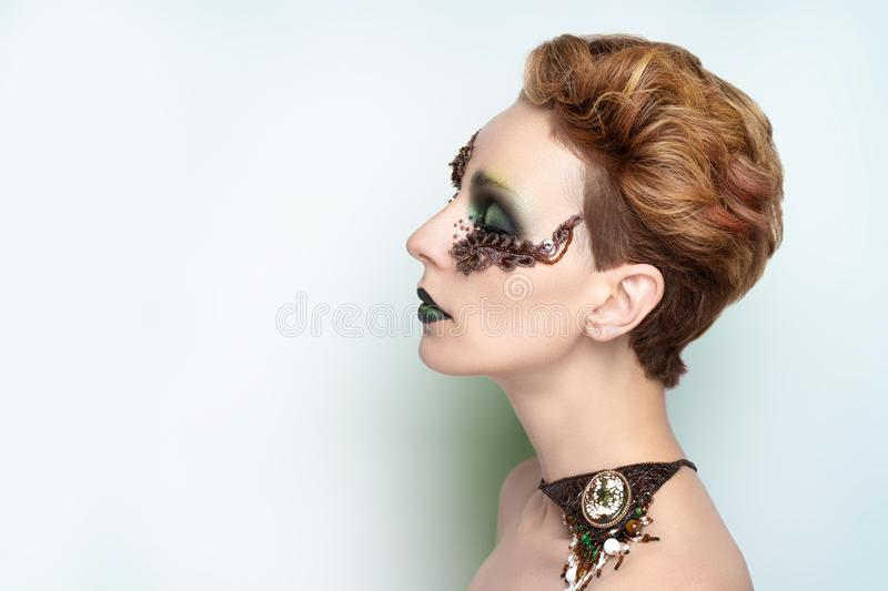 High fashion model art make up royalty free stock photography