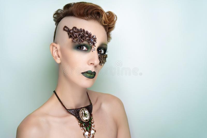 High fashion model art make up stock photography