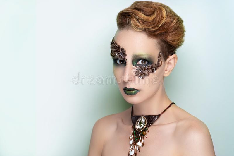 High fashion model art make up royalty free stock photo