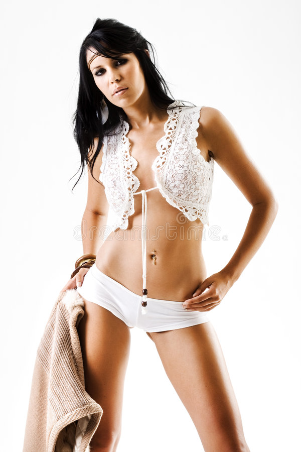 Download High Fashion Model In Lingerie And Coat Royalty Free Stock Images - Image: 7323609
