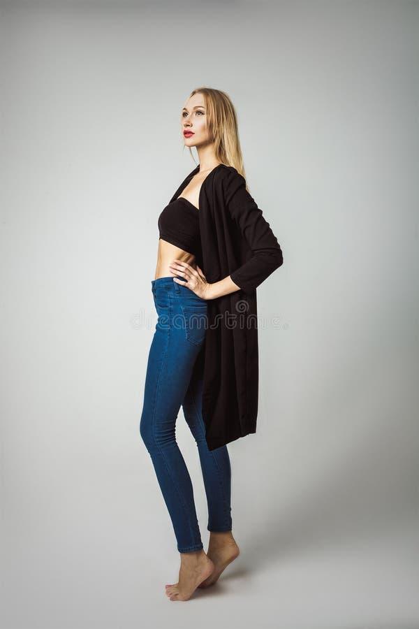High Fashion Model Posing On White Background stock photos