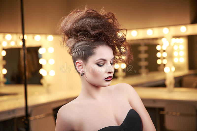 High Fashion Model Woman With Mohawk Hairstyle Beauty Makeup
