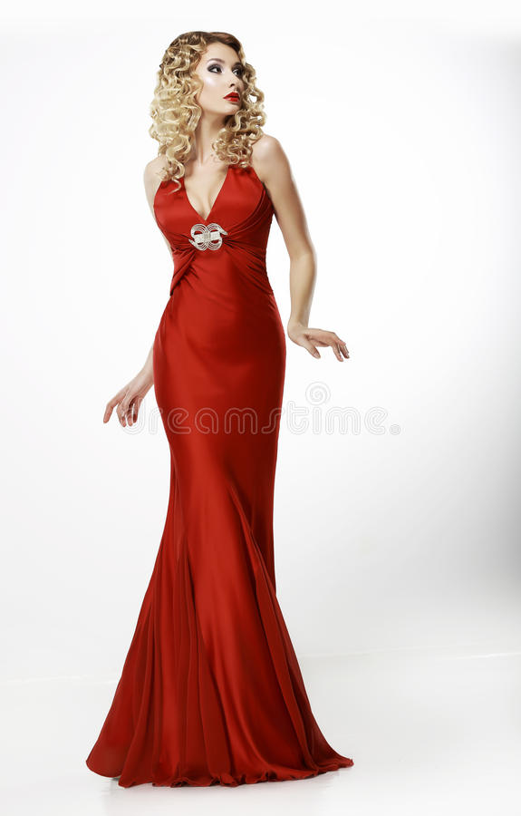 Free High Fashion. Shapely Blonde In Silk Evening Red Gown. Femininity Stock Photos - 31139603