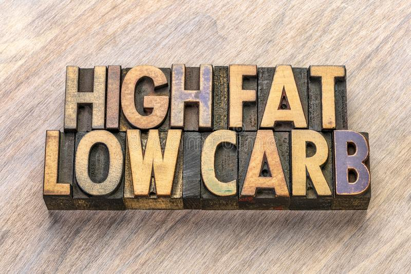 High fat, low carb text in letterpress wood type stock photo