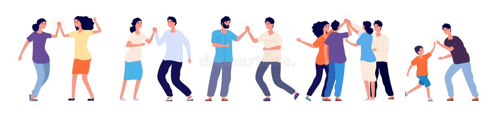 High five. Cheerful friends and colleagues giving high five. Happy people informal greeting, expression joy in agreement. Vector characters. High five vector illustration