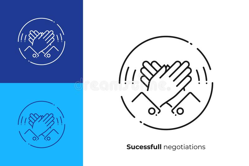 High five hands line art vector icon. Line art high five. Rised hands slap. Team building. Scalable vector icon in modern lineart style. outline elements vector royalty free illustration