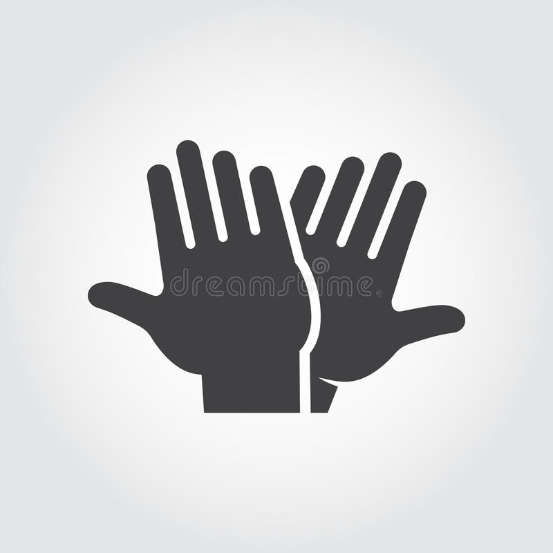 High five icon. Black flat pictograph of clapping hands - greeting, welcoming, celebrating symbol of successful people vector illustration