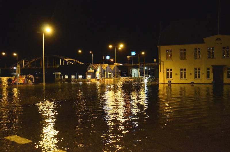 High Flood. Sonderborg, Denmark - January 5, 2017: The storm surge is at maximum, with 1,72 meters above normal, which is much in this region. Streets are royalty free stock images