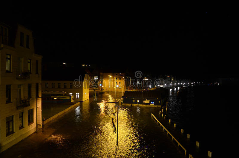 High Flood. Sonderborg, Denmark - January 5, 2017: The storm surge is at maximum, with 1,72 meters above normal, which is much in this region. Streets are royalty free stock image