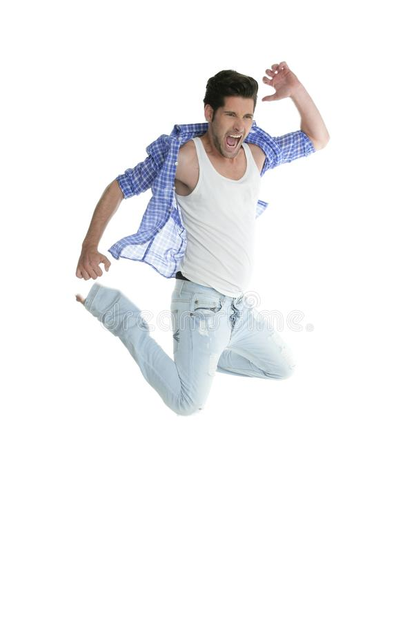 Download High Fly Man Jumping Denim Fashion Jeans On White Stock Photo - Image: 16380106