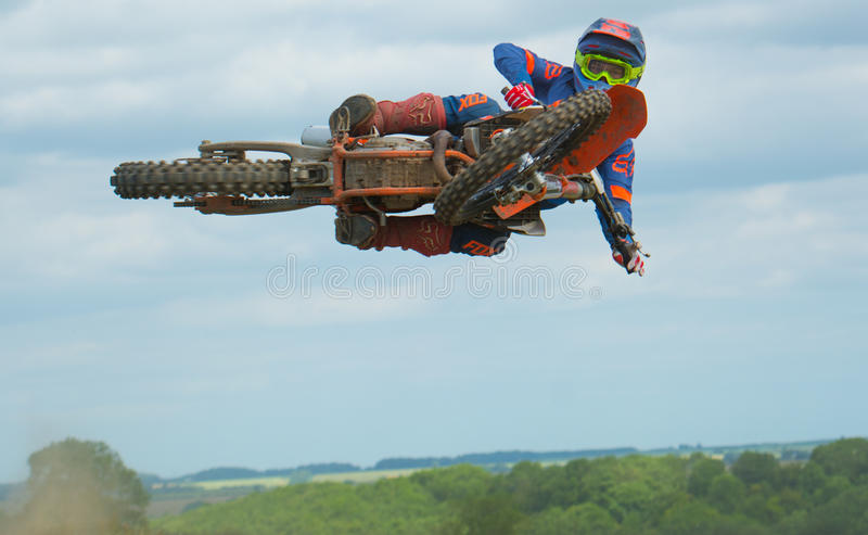 High flyer. Horizontal type of day at the motox royalty free stock photo