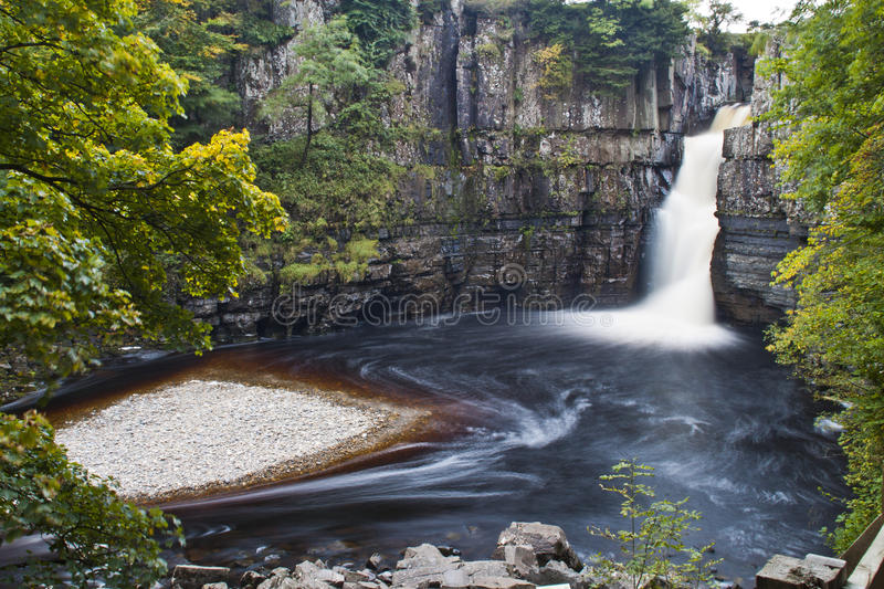 High Force waterfall. With the small island stock image