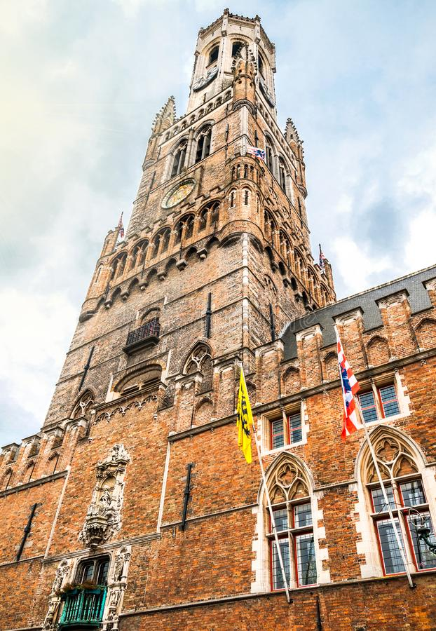 High-format shot of the famous Belfry at the Great Market in Bruges. Belgium royalty free stock images