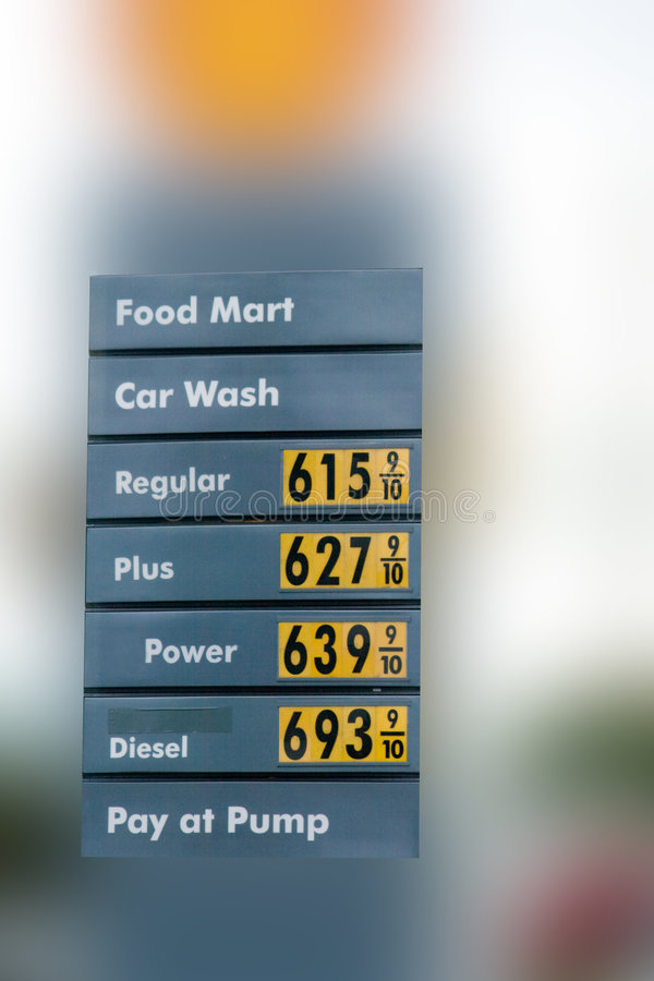 High Gas Prices v6. Shows prices of above six dollars a gallon stock photos