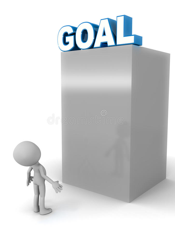 High goal. Concept, goal word on top of a shiny metal structure with little 3d man taking account of the challenge involved in achieving it royalty free illustration