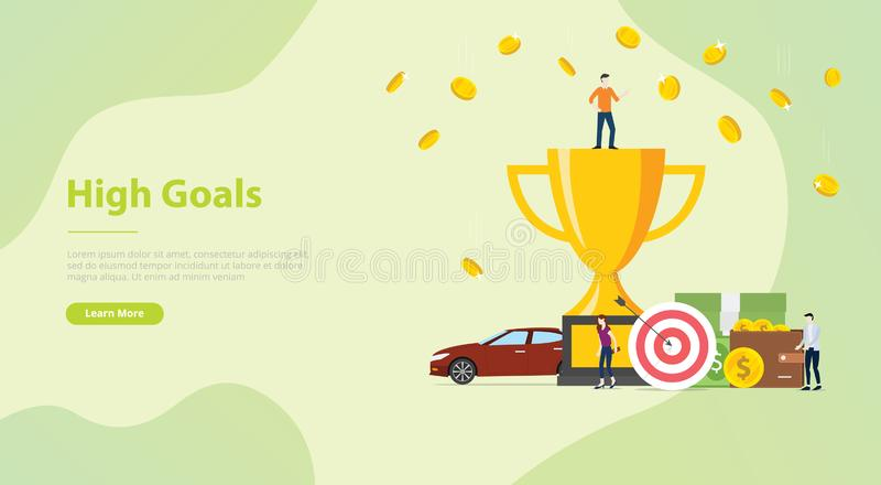 High goals personal target concept with people and achievement for website template banner or landing design homepage - vector stock illustration