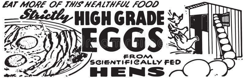 High Grade Eggs. Retro Ad Art Banner vector illustration
