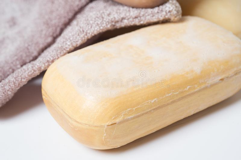 High-grade natural aroma soap at wite background.  stock photography
