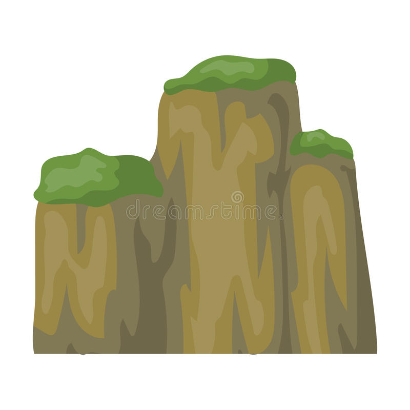 High green mountain with bushes on top.Different mountains single icon in cartoon style vector symbol stock illustration stock illustration