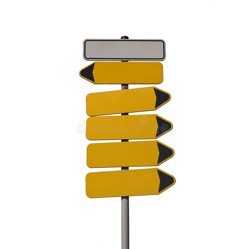 High guidepost isolated on white. Guidepost isolated on white many arrows, two different directions royalty free illustration