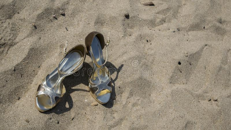 High heel. With beach background royalty free stock images