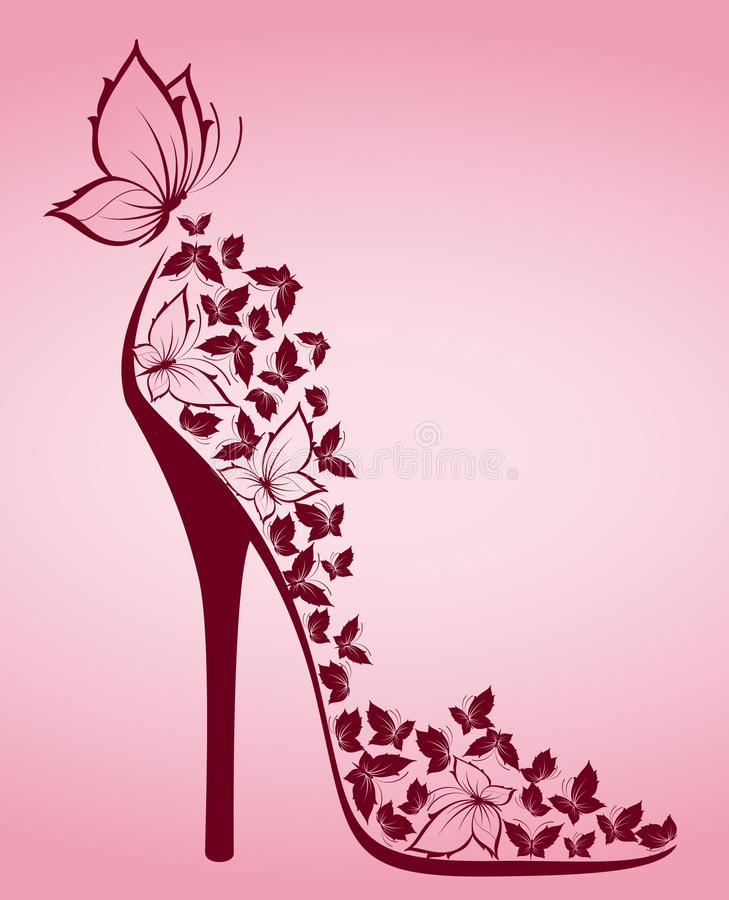 High heel from beautiful butterflies royalty free illustration