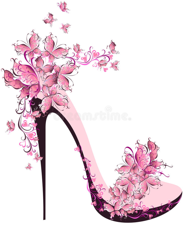 High heel decorated with butterflies stock illustration