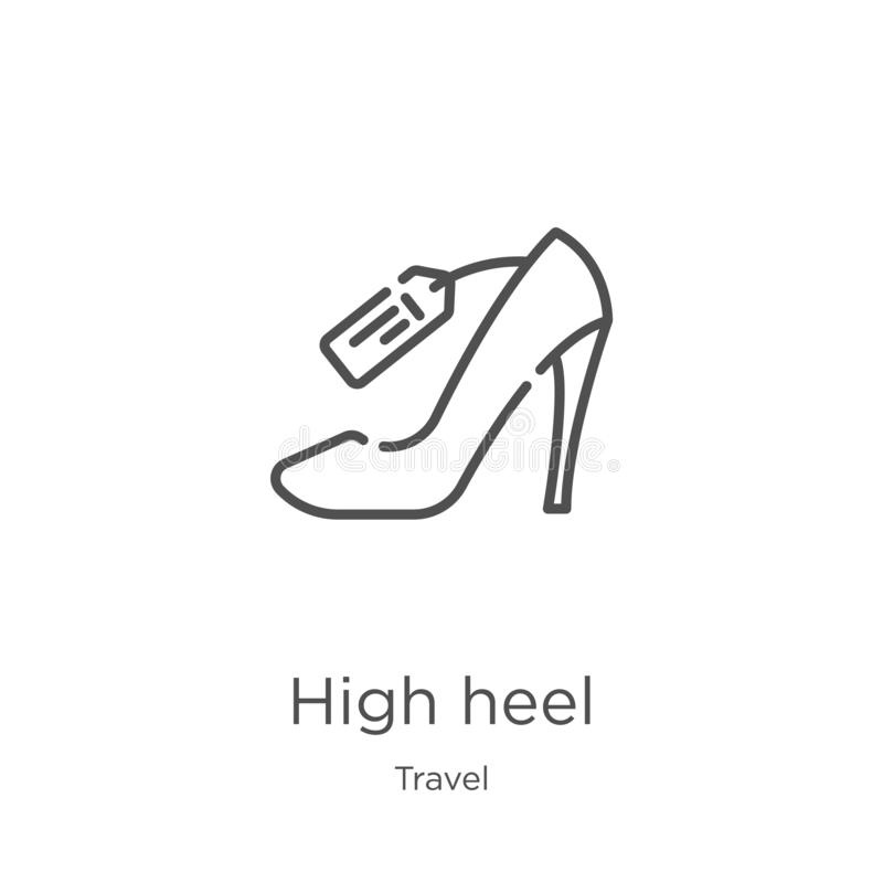High heel icon vector from travel collection. Thin line high heel outline icon vector illustration. Outline, thin line high heel. High heel icon. Element of stock illustration