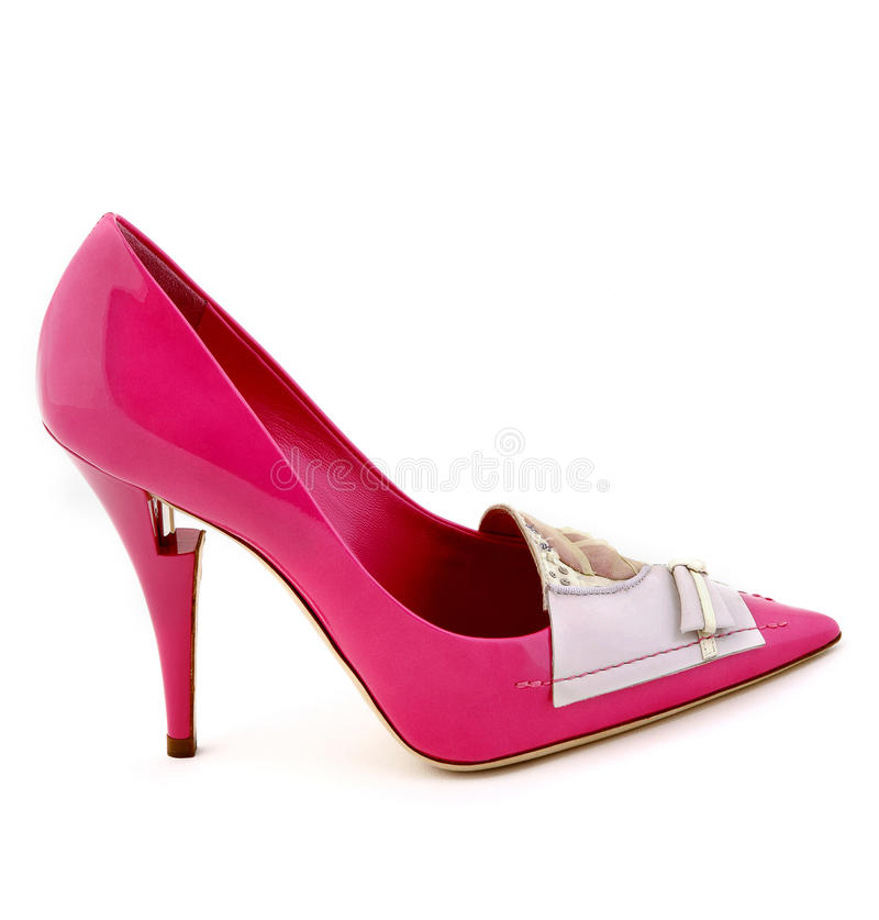 High heel pink fancy dress shoe on isolated white background royalty free stock image