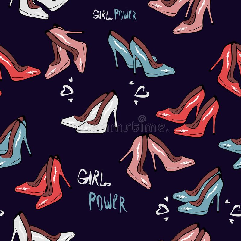 High heel shoe seamless pattern. Simple illustration of high heel shoe on dark blue background vector. Fashion design stock illustration