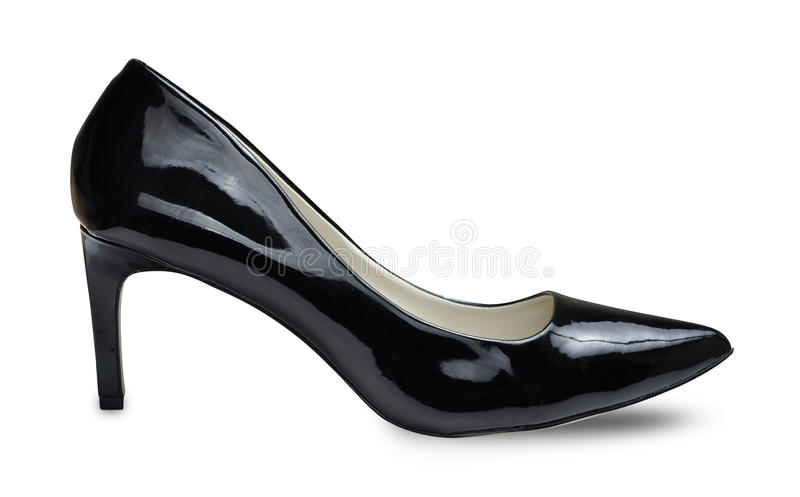 High heel shoes. Black female shoes on a high heel on white background stock photo