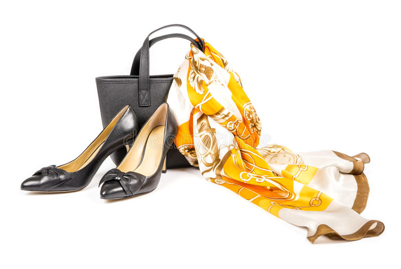 High Heel Shoes with Hand Bag and Silk Scarf #1 stock photography