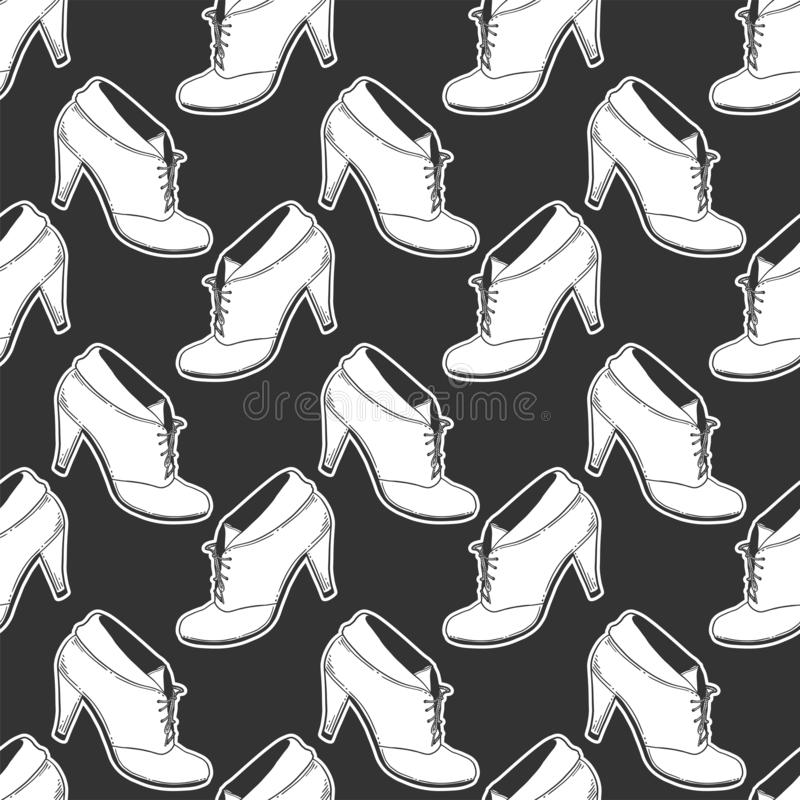 High heel shoes. Vector concept in doodle and sketch style. Hand drawn illustration for printing on T-shirts, postcards. Seamless pattern for textile, paper vector illustration