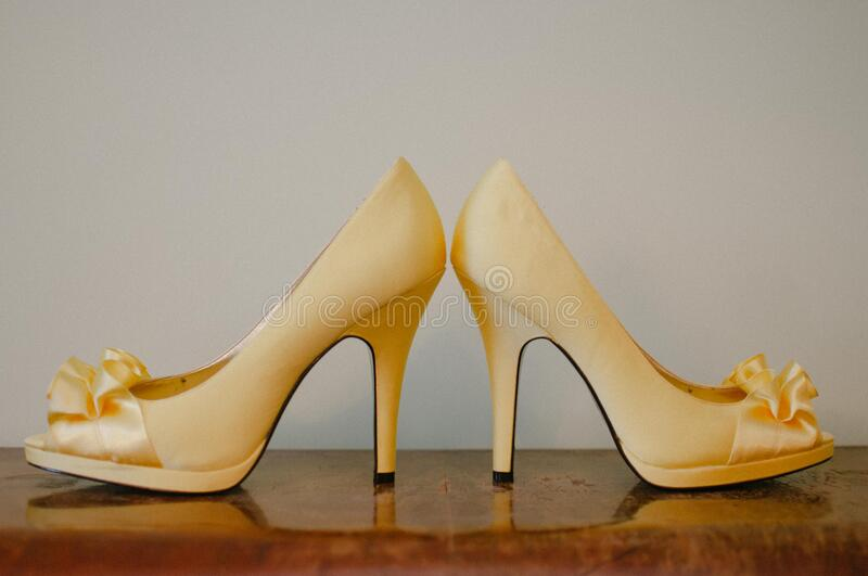 High heel shoes on wood royalty free stock photo