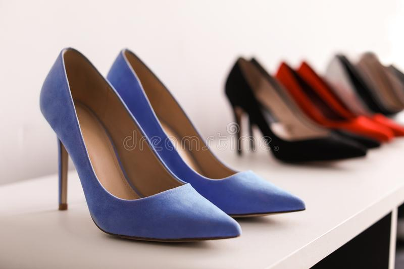 High heeled shoes on shelf. In store royalty free stock photos