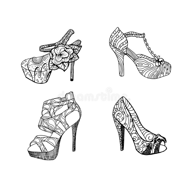 High-heeled shoes for woman. Fashion footwear artwork in black style pattern fill. High-heeled shoes set for woman. Fashion footwear artwork in black style royalty free illustration