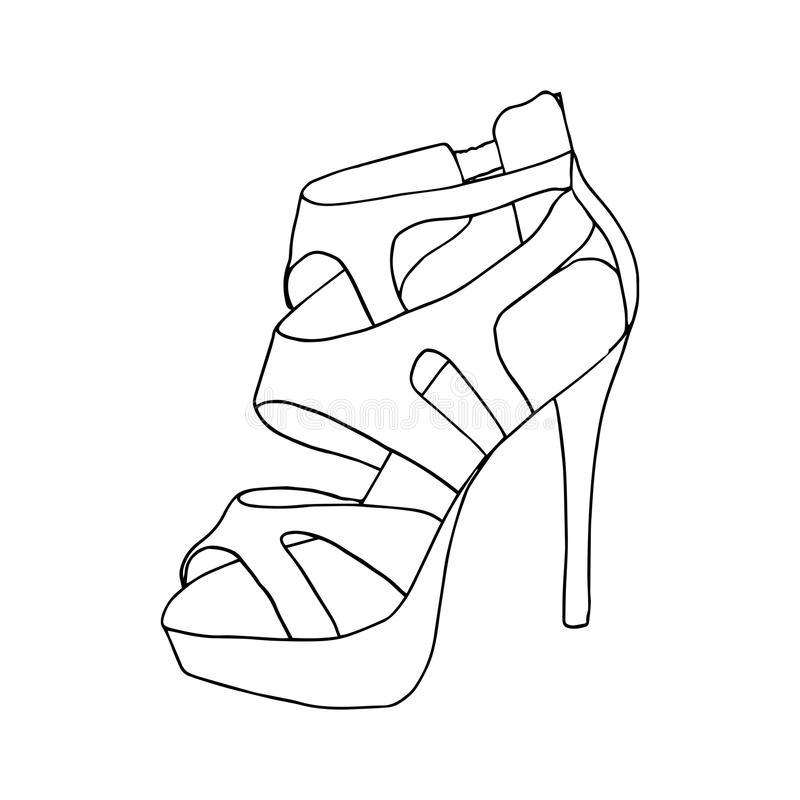 High-heeled shoes for woman. Fashion footwear artwork. Isolated clipart for coloring book pages design royalty free illustration