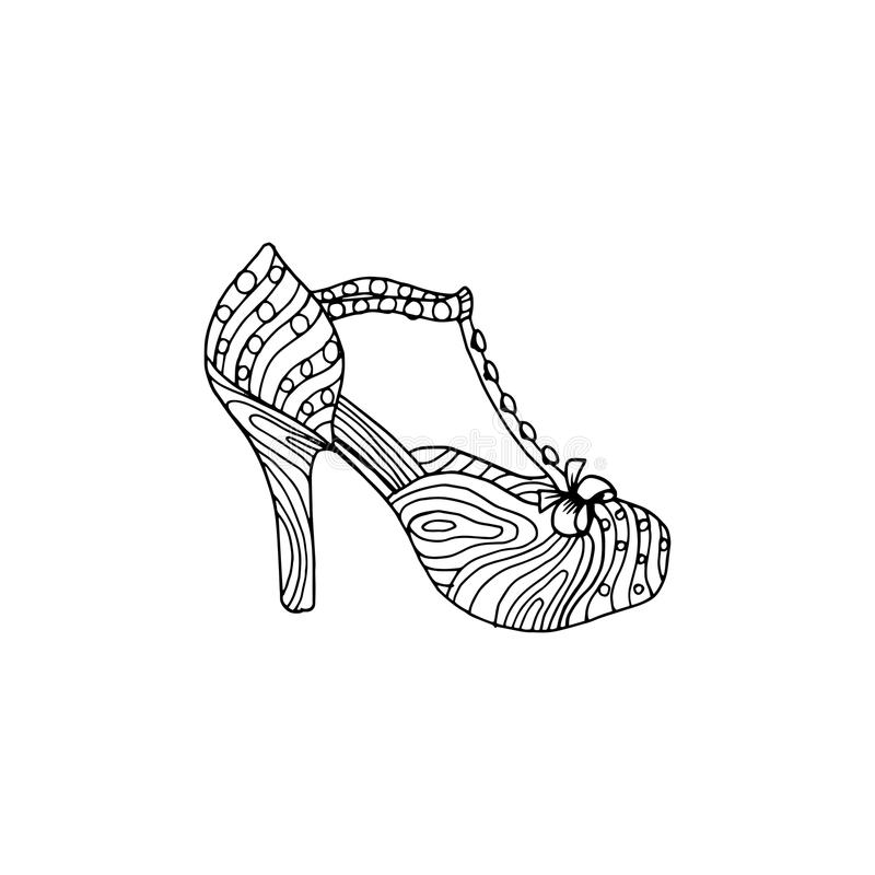High-heeled shoes for woman. Fashion footwear artwork in shoe style pattern fill. Isolated clipart for coloring book pages design royalty free illustration