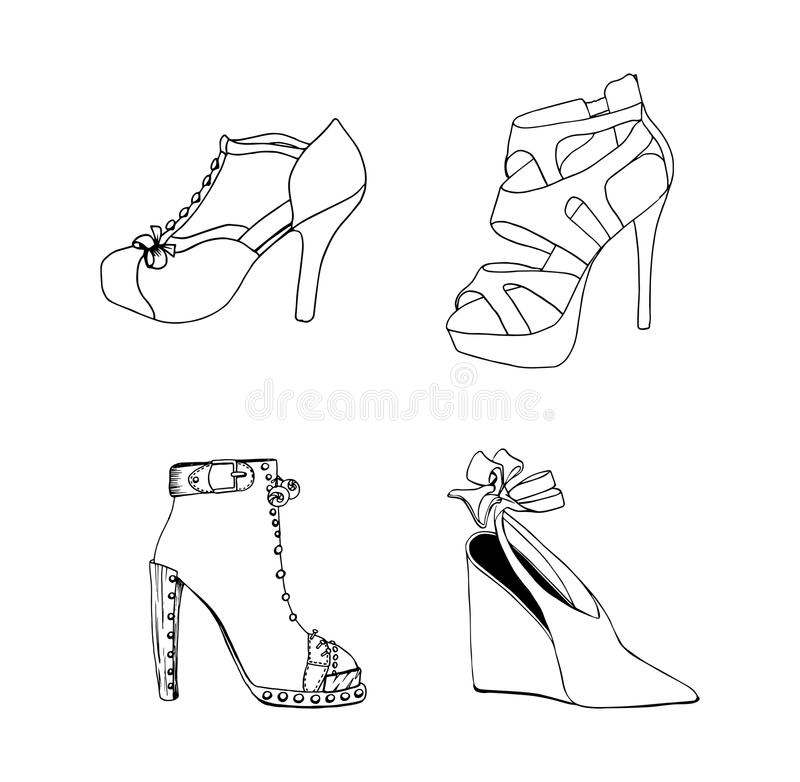 High-heeled shoes for woman. Fashion footwear set. Isolated clipart design royalty free illustration