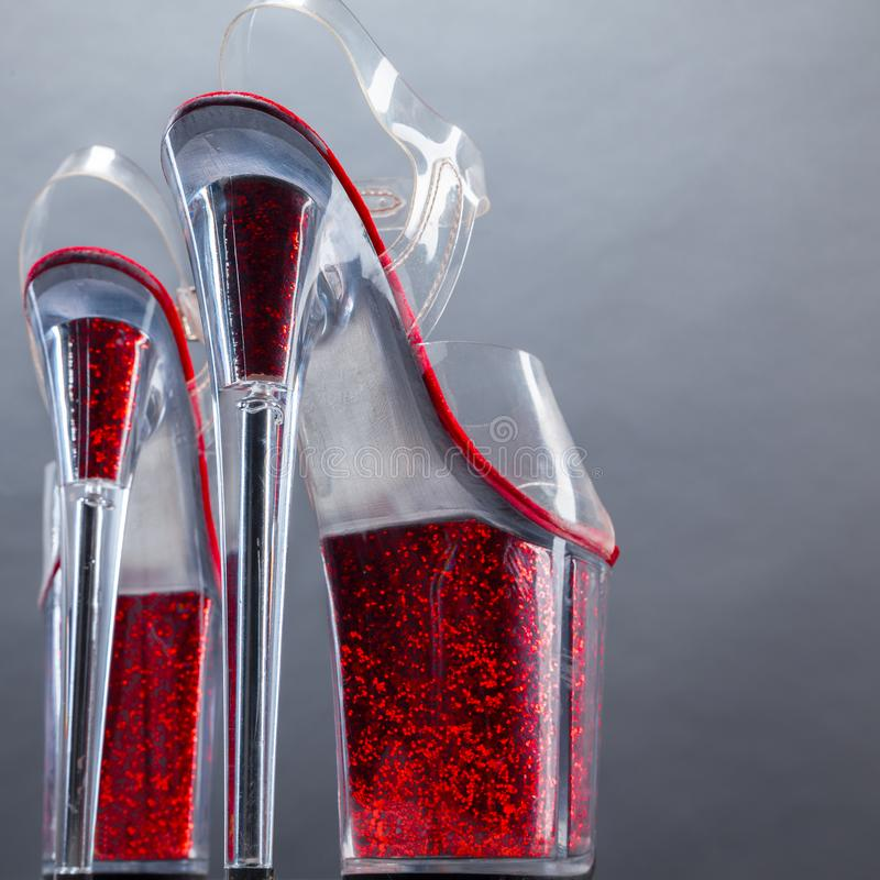 High-heeled shoes. Women`s high-heeled shoes royalty free stock image
