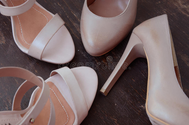 High-heeled woman shoes stock images