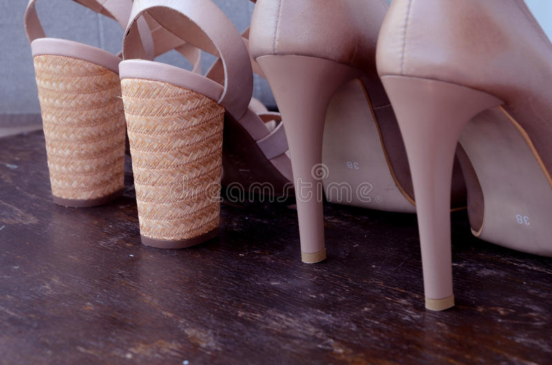 High-heeled woman shoes stock image