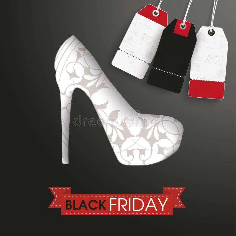High Heels Ribbon Black Friday Price Stickers. Shoue with ribbon, price stickers and text black friday royalty free illustration