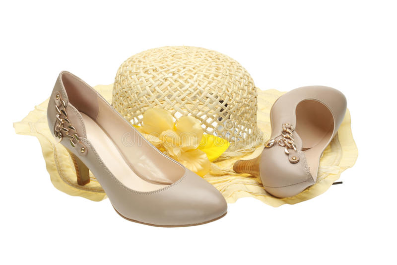 High Heels And Sun Hat Royalty Free Stock Photos
