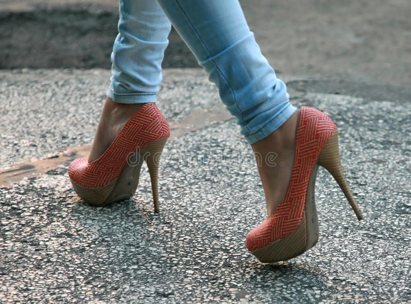 High heels and tight jeans stock photography