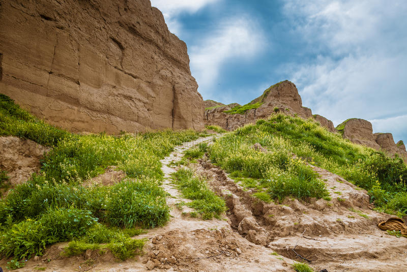 High hills in Iraq. Way between mountains in Erbil city,Iraq royalty free stock images