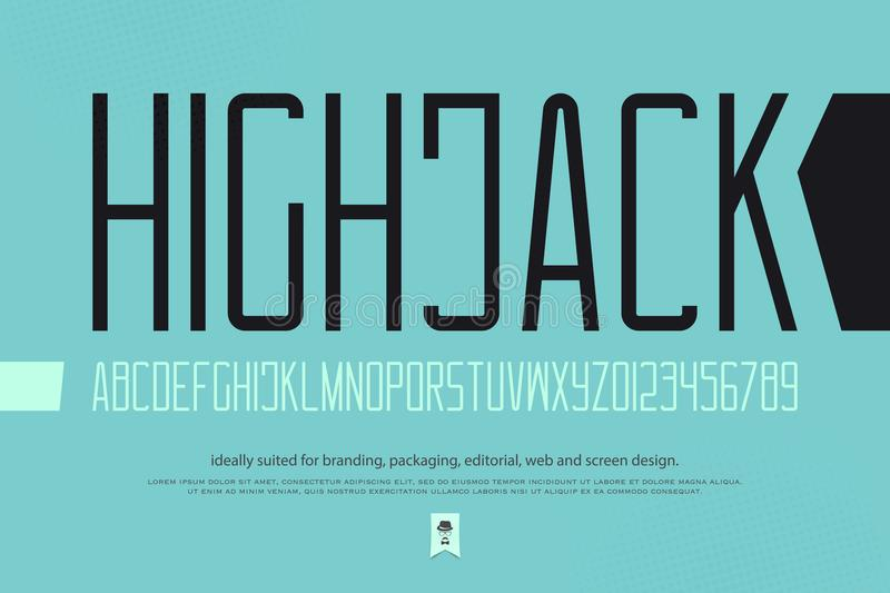 High jack. Minimalist style alphabet letters and numbers. vector font type design. contemporary lettering symbols. stylized, high typesetting. sans serif royalty free illustration